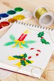 与水彩的圣诞节插图记事本 — 图库照片