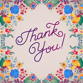 Thank You Abstract Floral Background  Callygraphy. THANK YOU hand lettering -- handmade calligraphy — Vecteur
