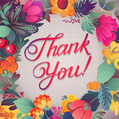 Thank you card in bright colors. Stylish floral background with text, berries, leaves and flower — Stock vektor