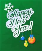 Happy New Year Card on green background — Stock Vector