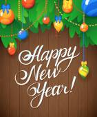 Vector Happy New Year Message and objects on wood background. — Stock Vector