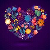 Liefde kaart met bloemen boeket. — Stockvector