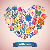 Love card with floral bouquet. — Vetor de Stock