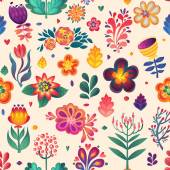 Flowers seamless pattern decorative vector card illustration. doodle plants — Stok Vektör