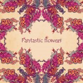 Abstract floral ornament with many details — Wektor stockowy