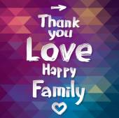 Thank you, love, happy and family — Stock Vector