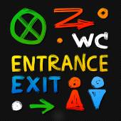 WC, entrance, exit, silhouettes — Stock Vector