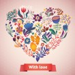 Love card with floral heart — Stock Vector #58282627