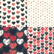 Seamless patterns with colorful hearts — Stock Vector #58283613
