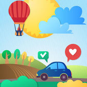 Eco car on the road — Stock Vector