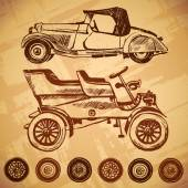 Vintage car and wheel set — Stock Vector