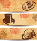 Vector Collection of Vintage Hats — Stock Vector