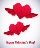 Valentine card with paper hearts — Vector de stock