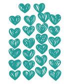 Set med blå hjärtan — Stockvektor