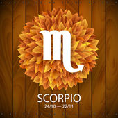 Scorpio horoscope white sign — Stok Vektör