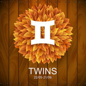 Twins horoscope white sign — Stock Vector