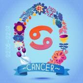 Zodiac sign CANCER — Stock Vector