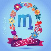 Zodiac sign SCORPIO — Stock Vector