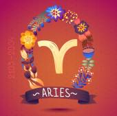 Aries sign in floral wreath — Vetorial Stock
