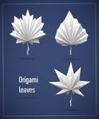 Eco origami white leaf set — Stock Vector