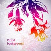 Ornamental fuchsia flower card — Stock Vector