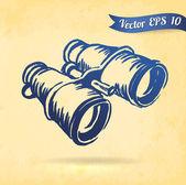 Vintage binoculars — Stock Vector