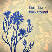 Ornamental cornflower flower card — Stock Vector
