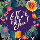 Thank You floral card — Stock Vector