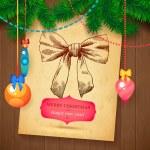 Christmas hand drawn Vecrot sketch card for xmas design with balls. — Stock Vector #59962109