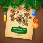 Christmas hand drawn Vecrot sketch card for xmas design with balls. — Stock Vector #59962597