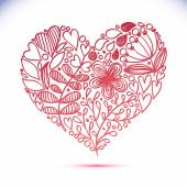 Floral Lace Line Heart — Vector de stock