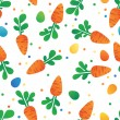Eastern Carrot and Eggs Seamless Pattern. Carrots for Easter Bunny. Vector seamless texture with a lot of cartoon carrots — Stock Vector #67022235