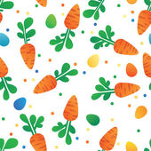 Eastern Carrot and Eggs Seamless Pattern. Carrots for Easter Bunny. Vector seamless texture with a lot of cartoon carrots — Stock Vector