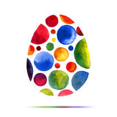Happy Easter  greeting card or invitation. Happy Easter! Watercolor round spot egg — Stock Vector
