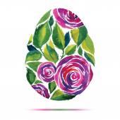 Happy Easter  greeting card or invitation. Happy Easter! Watercolor flower rose egg — Stock Vector