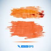 Vector acrylic orange ink spot. Wet brush stroke on paper texture. Dry brush strokes. Abstract composition for design elements — Stock Vector