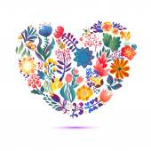 Love card with  floral bouquet. — Stock Vector