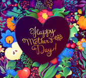 Happy Mother'S Day! card. Congratulations for mom, floral pattern. Spring flowers. Happy Mothers's Day Typographical Design Card — Stockvektor