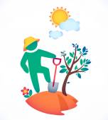 Man planting a tree — Stock Vector