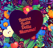 Happy Mother'S Day! inscription in Italian — Stock vektor