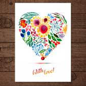 Watercolor floral heart — Vetor de Stock