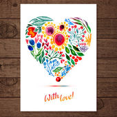 Watercolor floral heart — Vector de stock