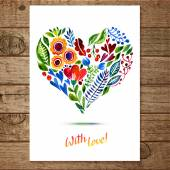 Watercolor floral heart — Stok Vektör