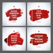 Creative Blood Donor Day motivation information donor poster set. Blood Donation. World Blood Donor Day banner. Red stroke and text. Medical design elements. Grunge texture. — Stock Vector #75091279