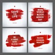 Creative Blood Donor Day motivation information donor poster set. Blood Donation. World Blood Donor Day banner. Red stroke and text. Medical design elements. Grunge texture. — Stock Vector #75091287