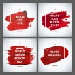 Creative Blood Donor Day motivation information donor poster set. Blood Donation. World Blood Donor Day banner. Red stroke and text. Medical design elements. Grunge texture. — Stock Vector #75091293