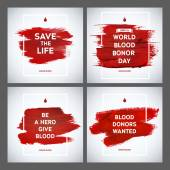 Creative Blood Donor Day motivation information donor poster set. Blood Donation. World Blood Donor Day banner. Red stroke and text. Medical design elements. Grunge texture. — Stock Vector