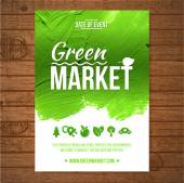Ecology Green market invitation poster. Green stroke trees and shrubs on wood background — Vecteur