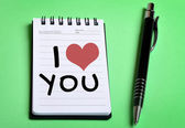 I Love You word on notebook — Stock Photo