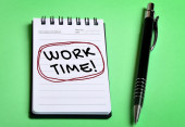 Work time word on notebook — Stock Photo